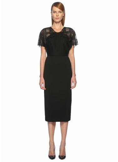 Roland Mouret Kolları Dantelli Midi Elbise Siyah